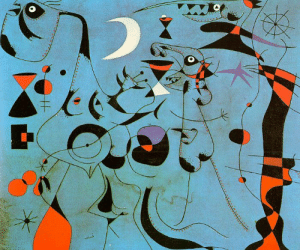 artist-miro:Figure at Night Guided by the Phosphorescent Tracks of Snails, 1940, Joan Miro: Miro artist-miro:Figure at Night Guided by the Phosphorescent Tracks of Snails, 1940, Joan Miro