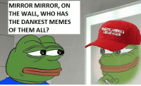 Me irl: MIRROR MIRROR, ON  THE WALL, WHO HAS  THE DANKEST MEMES  OF THEM ALL?  GRKATA  AGAIN Me irl