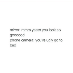 Youre Ugly: mirror: mmm yasss you look so  goooood  phone camera: you're ugly go to  bed