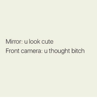 Wahhh 😭 Follow @thespeckyblonde @thespeckyblonde @thespeckyblonde: Mirror: u look cute  Front camera: u thought bitch Wahhh 😭 Follow @thespeckyblonde @thespeckyblonde @thespeckyblonde