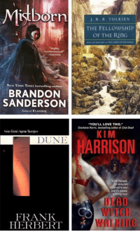 """The Epic Fantasy sale is underway! Through 4/7, buy 2 books, get the 3rd free: http://bit.ly/160RjFU: Misborn  """"Highly  New YORK TIMEs bestselling author  BRANDON  SANDERSON  Author of ELANTRIs  DUNE  FRANK  HERBERT  J. R. R. TOLKIEN  THE FELLOWSHIP  OF THE RITG  """"YOU'LL LOVE THIS  Chartaine Harris, bestselling author of Clab Dead  KIM  ARRISON  the Hollows  come out play.  witching bour The Epic Fantasy sale is underway! Through 4/7, buy 2 books, get the 3rd free: http://bit.ly/160RjFU"""