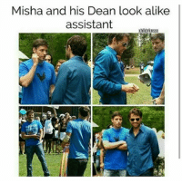 Memes, 🤖, and Looking: Misha and his Dean look alike  assistant  xhlldrknssx Oh my 😱🐝😂