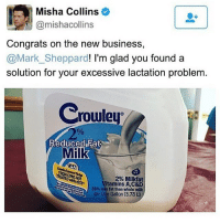 Memes, 🤖, and Milk: Misha Collins  Camishacollins  Congrats on the new business,  @Mark Sheppard  I'm glad you found a  solution for your excessive lactation problem  Crowley  Reduced Fat  Milk  2% Milkfat  with RST  itamins A,C&D  38% less fat than whole milk  Co One Gallon (3.78 ah misha