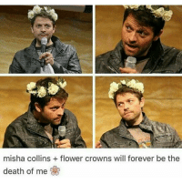Aww, Memes, and 🤖: misha collins flower crowns will forever be the  death of me Aww so adorable ♡