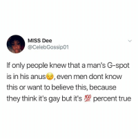 Friends, Memes, and True: MISS Dee  @CelebGossip01  If only people knew that a man's G-spot  is in his anus, even men dont knovw  this or want to believe this, because  they think it's gay but it's型percent true 😩 Tag your male friends 👀🏃🏽‍♀️