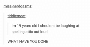 Funny, Omg, and Tumblr: miss-nerdgasmz:  tiddiemeat:  Im 19 years old I shouldnt be laughing at  spelling attic out loud  WHAT HAVE YOU DONE It will always be funnyomg-humor.tumblr.com