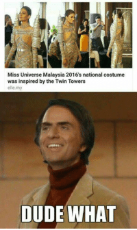 Wut?: Miss Universe Malaysia 2016's national costume  was inspired by the Twin Towers  elle my  DUDE WHAT Wut?