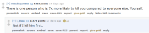Me irl: - missdopamine 8265 points 18 days ago  permalink source embed save save-RES report give gold reply hide child comments  I-1 i duca11676 points 17 days ago 2  Not if I kill him first.  permalink source embed save save-RES parent report give gold reply Me irl