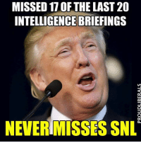 Memes, Snl, and 🤖: MISSED 17 OF THE LAST 20  INTELLIGENCE BRIEFINGS  NEVERIMISSES SNL Not presidential at all. ~Rick  Via Proud Liberals