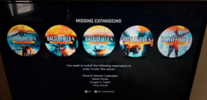 Ps4, China, and Stuff: MISSING EXPANSIONS  ALO 4ATTFIEL4 BATLEF4 BABATHLEFIE  CHINA RISING  SECOND ASSAUL  NAVAL STRIK  AGON S TEET  FINAL STAND  You need to install the following expansions in  order to join this server:  Second Assault Expansion  Naval Strike  Dragon's Teeth  Final Stand  OK  GET EXPANSIONS Why does BF4 on PS4 say i need to download stuff and when i try it says that its owned and installed?