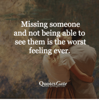 missing someone: Missing someone  and not being able to  see them is the worst  feeling ever.  Quotes Gate
