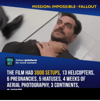 I love Mission' fight scenes so much. I know, it will be the great movie. - Follow @cinfacts for more facts: MISSION: IMPOSSIBLE- FALLOUT  CINEMA Follow @cinfacts  ACTS for more content  THE FILM HAD 3000 SETUPS, 13 HELICOPTERS,  6 PREGNANCIES, 5 HIATUSES, 4 WEEKS OF  AERIAL PHOTOGRAPHY, 3 CONTINENTS, I love Mission' fight scenes so much. I know, it will be the great movie. - Follow @cinfacts for more facts