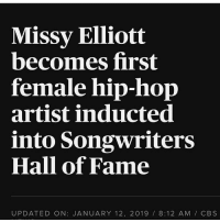 😱😱😱 congratulations to missyelliot ‼️ what's your favorite missyelliot song⁉️ comment ⬇️⬇️⬇️ Follow @bars for more ➡️ DM 5 FRIENDS: Missy Elliott  becomes first  female hip-hop  artist inducted  into Songwriters  Hall of Fame  UPDATED ON: JANUARY 12, 2019 8:12 AM / CBS 😱😱😱 congratulations to missyelliot ‼️ what's your favorite missyelliot song⁉️ comment ⬇️⬇️⬇️ Follow @bars for more ➡️ DM 5 FRIENDS