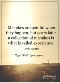 Memes, Collective, and Experience: Mistakes are painful when  they happen, but years later  a collection of mistakes is  hat is called experience.  Denis Waitley  Type 'Yes' if you agree  Life Learned  F e e l i n g s <3