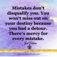 Detour: Mistakes don't  disqualify you. You  won't miss out on  your destiny because  you had a detour.  There's mercy for  every mistake.  ael Osten  THE  www.The Purple Flower.com