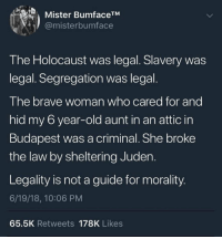 True words: Mister BumfaceTM  @misterbumface  The Holocaust was legal. Slavery was  legal. Segregation was legal.  The brave woman who cared for and  hid my 6 year-old aunt in an attic in  Budapest was a criminal. She broke  the law by sheltering Juden.  Legality is not a guide for morality  6/19/18, 10:06 PM  65.5K Retweets 178K Likes True words