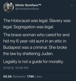 welcometonegrotown: This is true.  : Mister BumfaceTM  @misterbumface  The Holocaust was legal. Slavery was  legal. Segregation was legal.  The brave woman who cared for and  hid my 6 year-old aunt in an attic in  Budapest was a criminal. She broke  the law by sheltering Juden.  Legality is not a guide for morality.  6/19/18, 10:06 PM  65.5K Retweets 178K Likes welcometonegrotown: This is true.
