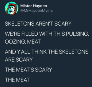 Tumblr, Blog, and Heart: Mister Hayden  @MrHaydenMyers  SKELETONS AREN'T SCARY  WE'RE FILLED WITH THIS PULSING,  OOZING, MEAT  AND Y'ALL THINK THE SKELETONS  ARE SCARY  THE MEAT'S SCARY  THE MEAT fihli: it's midnight and this tweet is giving me a heart attack