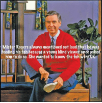 Fish, Once, and Wanted: Mister Rogers always mentioned out loud that he was  feeding his fish because a young blind viewer once asked  him to do so. She wanted to know the ish were OK