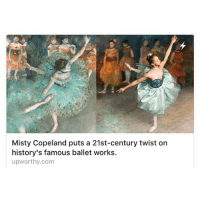"Asian, Community, and Ken: Misty Copeland puts a 21st-century twist on  history's famous ballet works.  upworthy.com This is about last year's issue, but still is so relevant. The March 2016 issue of Harper's Bazaar featured a photo series of Misty Copeland, who is the first black woman to become principal dancer of the American Ballet theatre, recreating some of the worlds most famous ballet paintings and sculptures by artist Edgar Degas. The project's photographers and founders of the NYC Dance Project, are Ken Browar and Deborah Ory. Their attempt was to bring Degas' works into the '21st century' by showcasing the changing faces of ballet. ""It wasn't so much us trying to reproduce Degas' paintings as it was to bring Misty into them, and to bring the ballet community up-to-date.We're seeing all body types, all types of people: black, white, Asian, you name it. We're seeing everything. It's time that gets reflected."" "" Ken told Upworthy."