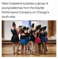 Memes, 🤖, and Misty Copeland: Misty Copeland surprises a group of  young ballerinas from the Mayfair  Performance Company on Chicago's  south side.
