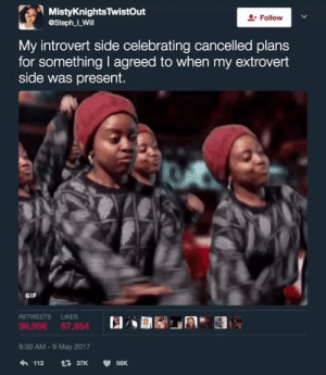 Gif, Introvert, and Love: MistyKnightsTwistOut  @Steph LWill  & Follow  My introvert side celebrating cancelled plans  for something I agreed to when my extrovert  side was present.  GIF  RETWEETS LIKES  36,506 57,954  9:30 AM-9 May 2017 I love when this happens
