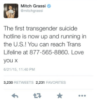"Life, Love, and Target: Mitch Grassi  @mitchgrassi  The first transgender suicide  hotline is now up and running in  the U.S.! You can reach Trans  Lifeline at 877-565-8860. Love  you X  6/21/15, 11:40 PM  3,230 RETWEETS 2,231 FAVORITES <p><a class=""tumblr_blog"" href=""http://3-cheers-for-mark-nutt.tumblr.com/post/122139814958"" target=""_blank"">3-cheers-for-mark-nutt</a>:</p>  <blockquote><p>this is extremely important spread this around and save a life!</p></blockquote>"