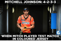 Mitchell Johnson rattled over the Melbourne Stars team.: MITCHELL JOHNSON: 4-2-3-3  Homeloans  WHEN MITCH PLAYED TEST MATCH  IN COLOURED JERSEY Mitchell Johnson rattled over the Melbourne Stars team.