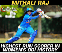 Memes, Run, and Cricket: MITHALI RAJ  Cricket  Shots  HIGHEST RUN SCORER IN  WOMEN'S ODI HISTORY Mithali Raj #Legend 🙏🙏🙏