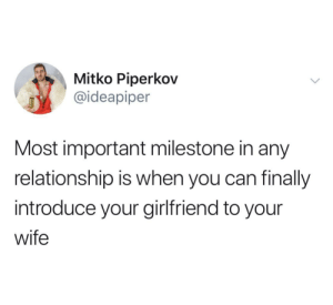 At this Milestone i close my tinder: Mitko Piperkov  @ideapiper  Most important milestone in any  relationship is when you can finally  introduce your girlfriend to your  wife At this Milestone i close my tinder