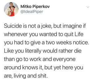 2meirl4meirl: Mitko Piperkov  @ldealPiper  Suicide is not a joke, but imagine if  whenever you wanted to quit Life  you had to give a two weeks notice  Like you literally would rather die  than go to work and everyone  around knows it, but yet here you  are, living and shit 2meirl4meirl