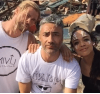 Chris Hemsworth, Taika Waititi, and Tessa Thompson on the last day of shooting THOR: RAGNAROK!  (Andrew Gifford): MIVJ Chris Hemsworth, Taika Waititi, and Tessa Thompson on the last day of shooting THOR: RAGNAROK!  (Andrew Gifford)
