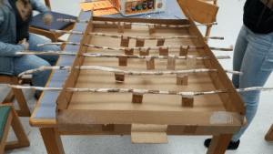 Today, Class, and Cardboard: Mix  D otos  50 We made cardboard Foosball in class today