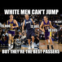 White people be like 😂😂: WHITE MEN CANT JUMP  10,334  DALLAS  5,806  12,091  @NBA MEMES  BUT THEY'RE THE BEST PASSERS White people be like 😂😂
