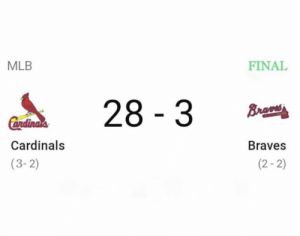 Final from Atlanta. https://t.co/LltSzM1TC6: MLB  FINAL  28 3  Brao  Cendinals  Cardinals  Braves  (2-2)  (3-2) Final from Atlanta. https://t.co/LltSzM1TC6