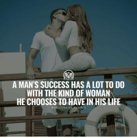 Advice, Family, and Life: MLIIOWAURE MENTOR  A MAN'S SUCCESS HAS A LOT TO DO  WITH THE KIND OF WOMAN  HE CHOOSES TO HAVE IN HIS LIFE  @MILLIONAIRE MENTOR The importance of having the right woman beside you. 👀 Read on… Women have been inspiring men for centuries. It's no wonder that people often say there is a great woman behind every great man. Yes, women manipulate men, sometimes without even realizing it. Their kind words can make their men feel significant and encourage them to fulfill their dreams. At the same time, women's nagging and disrespect can make their men losers. 🤔 - If you wonder how women can influence their man and help them succeed, here are some things that women can do for men: ✔️Boost their self-esteem. A loving woman has the power to cheer her man up when he is in low spirits or experiences difficult times. She doesn't have to come up with a solution. Her man needs to feel her support and know that she believes in him. That will give him the strength to move on and keep on fighting. It's always easier to live through a difficult period with someone who loves you and reminds you how great you are no matter what. ✔️Comfort them. Women are emotional creatures and their emotions and feelings are their powerful tools that can transform men. When a man seeks support from his woman, he doesn't want to get a piece of advice because he wants to deal with his problems on his own. What he really wants is her emotional support. 😉 ✔️Support their endeavors. Words of support and encouragement, harmony in the relationship and at home this is what a woman can give to her husband to make him feel confident. It can be pretty difficult to succeed in your professional life if there is no stability in your family life. ✔️Fill their life with meaning. When a man gets too ambitious and focuses exclusively on his career, his woman still has the power to show him that there is life outside his office. - What do you guys think? Let me know your opinions by leaving a comment below! - partner success powercouple millionairementor