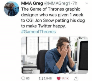 Best Game of Thrones Memes That Are Hilarious (48 Pics)-43: MMA Greg @MMAG reg1 7h  The Game of Thrones graphic  designer who was given 1 week  to CGI Jon Snow petting his dog  to make Twitter happy.  #GameofThrones  63  112,948  14.1K Best Game of Thrones Memes That Are Hilarious (48 Pics)-43