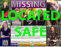 """Great news for the family of Natalie Rose Sharrett. She has been found safe! To continue assisting with missing & unidentified persons and wanted fugitive cases please follow Locate The Missing: MMISSINGT  ACADIl  PREBLE COUNTY OH Girl Missing Under """"Suspicious Circumstances""""  disap  NATALIE  RRETT  while pl  basketball out home  ooasiae D  kn WES  ear EATO  ALEXA  ark car  ere  a suspici  by  blac  driving  very  S  an  passenger acco  O a  red hair, b  Natalie i  th  1 poun  eig  has freckles all over herface. She was last seen wearing blacksweatpants  and the dark navy sweatshirt shown in the top center photo  $1,000.00 Reward! Anyone with information on her location, please  call the Preble County Sheriff's Office at (937) 456-6262 or 911.  SHARE! fj  /missing cases  @missingcases Great news for the family of Natalie Rose Sharrett. She has been found safe! To continue assisting with missing & unidentified persons and wanted fugitive cases please follow Locate The Missing"""