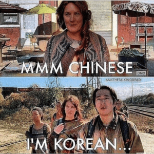 Memes, Chinese, and Walking Dead: MMM CHINESE  aMC  AMCTHETALKINGDEAD  M KOREANA/ 30 Hilarious Walking Dead Memes from Season 4 from Dashiell Driscoll,