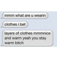 Bitch, Clothes, and Funny: mmm what are u wearin  clothes i bet  layers of clothes mmmnice  and warm yeah you stay  warm bitch Take notes boys. This is how u sext.