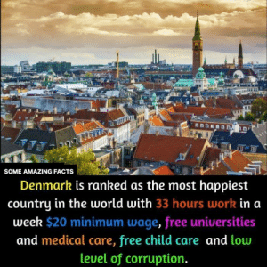 Ranked: mmnnmnhn  LI  1  SOME AMAZING FACTS  Denmark is ranked as the most happiest  country in the world with 33 hours work in a  week $20 minimum wage, free universities  and medical care, free child care and low  leuel of corruption.