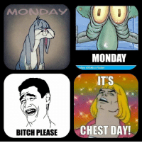 Feeling sluggish on the beginning of the new week? Remember, it's time to hit those juicy pectorals... or deltoids... or quads and hamstrings....  credit: Jakub Kowalski  Doyoueven.com: MMONDAY  MONDAY  ollow @9GAG on Twitter!  IT'S  BITCH PLEASE  CHEST DAY! Feeling sluggish on the beginning of the new week? Remember, it's time to hit those juicy pectorals... or deltoids... or quads and hamstrings....  credit: Jakub Kowalski  Doyoueven.com