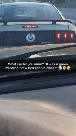 "laughoutloud-club:  What car hit you mam?: MMTEN  Arcord  What car hit you mam? ""It was a green  mustang bmw ford accord officer"" laughoutloud-club:  What car hit you mam?"