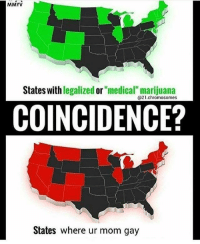 """<p>COINCIDENCE? I DONT THINK SOO&hellip; via /r/MemeEconomy <a href=""""http://ift.tt/2G5L54w"""">http://ift.tt/2G5L54w</a></p>: MMYV  States with legalized or """"medical"""" marijuana  @21.chromosomes  COINCIDENCE?  States where ur mom gay <p>COINCIDENCE? I DONT THINK SOO&hellip; via /r/MemeEconomy <a href=""""http://ift.tt/2G5L54w"""">http://ift.tt/2G5L54w</a></p>"""
