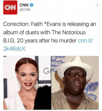 Memes, 🤖, and Faith Evans: MNI CNN  @CNN  Correction: Faith Evans is releasing an  album of duets with The Notorious  B.I.G, 20 years after his murder cnn.it/  2k46dcX FaithEvans is reportedly releasing an album of duets with TheNotoriousBIG 20 years after his murder! 👀 @CNN WSHH