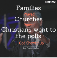 POWERFUL post-election thoughts from Rev. Franklin Graham.: mnrC  Families  Prayed  Churches  Prayed  Christians went to  the polls  God Show Up  Rev. Franklin Graham POWERFUL post-election thoughts from Rev. Franklin Graham.