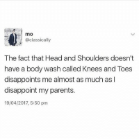 Head, Memes, and Parents: mo  @classically  The fact that Head and Shoulders doesn't  have a body wash called Knees and Toes  disappoints me almost as much as I  disappoint my parents.  19/04/2017, 5:50 pm Pull your finger out headandshoulders 😂😂😂 (@__twiin__ )