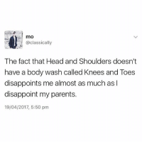 Head, Memes, and Parents: mo  @classically  The fact that Head and Shoulders doesn't  have a body wash called Knees and Toes  disappoints me almost as much as I  disappoint my parents.  19/04/2017, 5:50 pm 😅😅😅😅