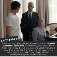 Which MCU trilogy is your favorite? 📽️🎬 • • • • Double Tap and Tag someone who needs to know this 👇 All credit to the respective film and producers. Movie Movies Film TV Cinema MovieNight Hollywood Netflix AcademyAwards civilwar captainamerica captainamericacivilwar tonystark ironman: MO  FACT #1068  John Slattery, who played Howard Stark in Captain  America: Civil War, is only two years older than  Robert Downey Jr., who plays Tony Stark, Howard's  son. But, since his final scene is set twenty-five  years earlier (in 1991), that makes Howard  twenty-seven years older than Tony Which MCU trilogy is your favorite? 📽️🎬 • • • • Double Tap and Tag someone who needs to know this 👇 All credit to the respective film and producers. Movie Movies Film TV Cinema MovieNight Hollywood Netflix AcademyAwards civilwar captainamerica captainamericacivilwar tonystark ironman