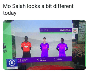 NBC got this wayyy wrong 👌😂: Mo Salah looks a bit different  today  GK 4 33  LIVERPOOL  Starting Lineup  ier  gue  Sadio  10 Mané  Roberto  Mohamed  Salah  0 min NBC got this wayyy wrong 👌😂